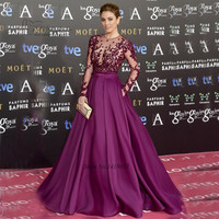 Purple Celebrity Dresses 2017 Flowers Pearls Long Sleeve Evening Party Dress Courte Formal Pageant Prom Dress