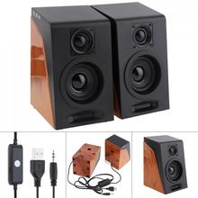 52mm 6W Mini USB 2.0 Computer Wood Subwoofer Speakers with 3.5mm Stereo Jack and USB Powered for PC / Laptop / Smartphone