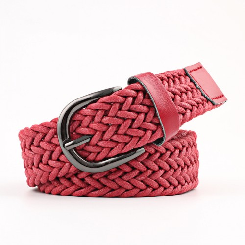 Casual Knitted Belt Woven Canvas Elastic Stretch Metal Buckle Black