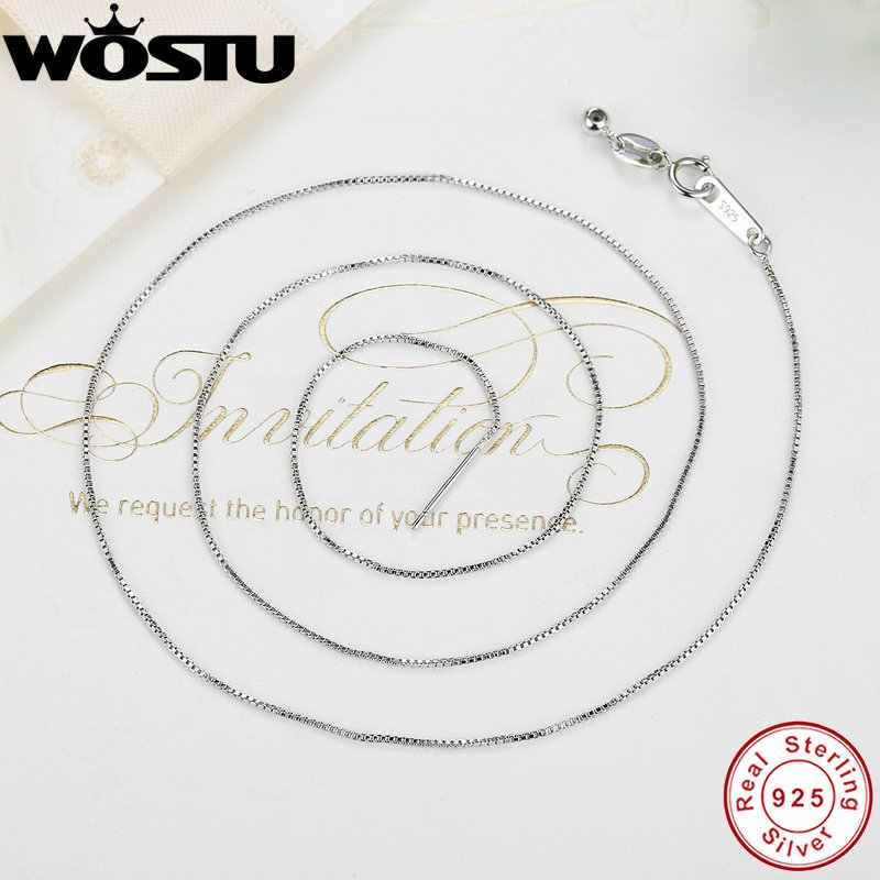 Gorąca sprzedaż 45cm prawdziwe 925 Sterling srebrne pudełko łańcuchy regulowane naszyjniki nadające się do wisiorek urok dla kobiet luksusowe S925 biżuteria prezent