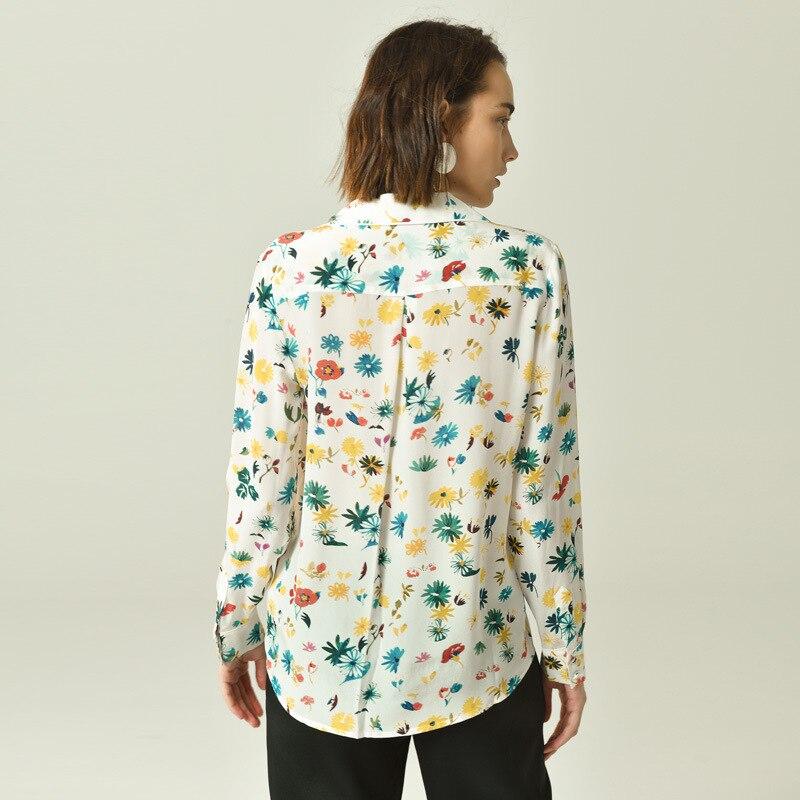 البلوزات 2019 الربيع المبكر جديد ديزي المطبوعة قميص حريري طويل الأكمام الإناث المرأة قميص إمرأة قمم-في بلوزات وقمصان من ملابس نسائية على  مجموعة 2