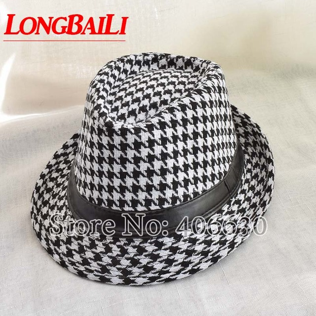 a9732c2574bde Winter Black And White Houndstooth Pattern Fedora Hats For Men Chapeu  Masculino Panama Jazz cap MEDB001