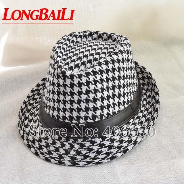 Winter Black And White Houndstooth Pattern Fedora Hats For Men Chapeu  Masculino Panama Jazz cap MEDB001 cd601451e57