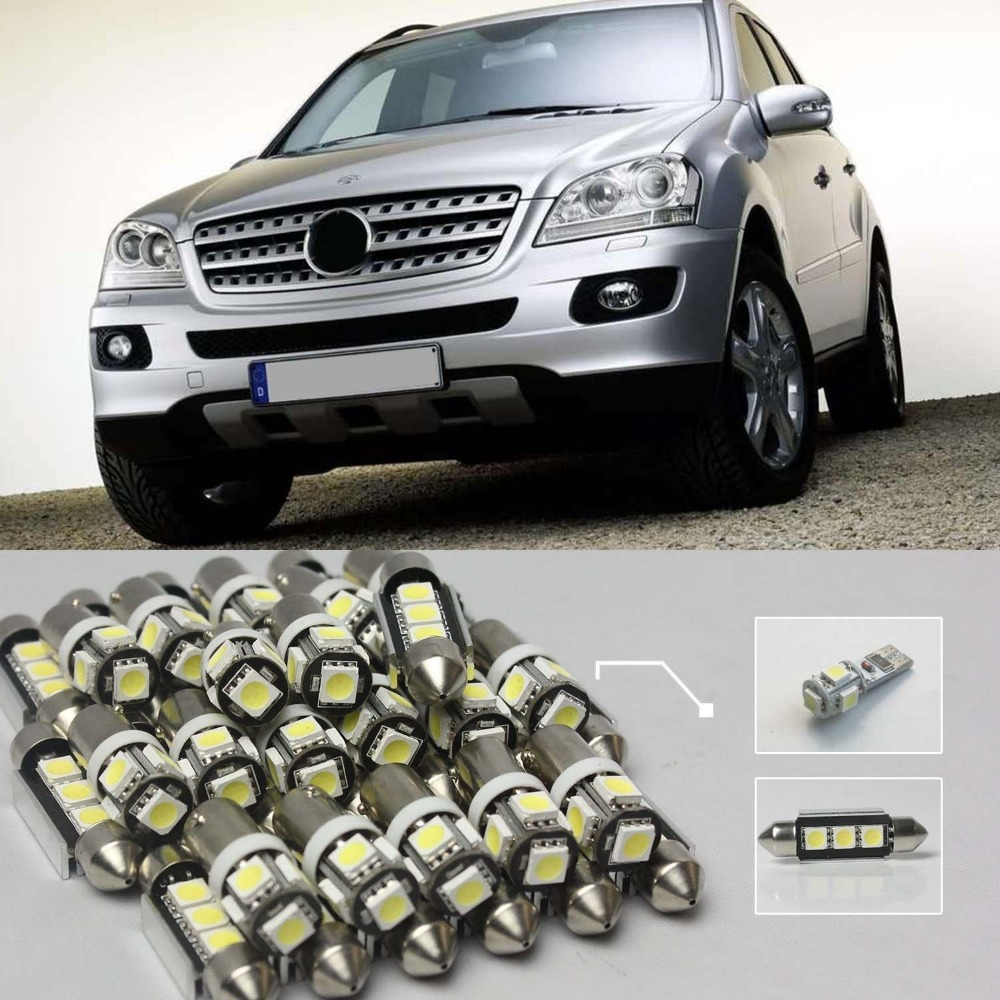 ФОТО Car-Styling 12Pcs LED Canbus Error Free Interior Lamp Bulb Kit For Mercedes-Benz W164 M Class 2006-2011 #94 White