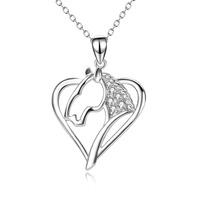 PYX0078 100 Real Pure 925 Sterling Silver Love Heart Horse Head Crystal CZ Hollow Pendant Necklace