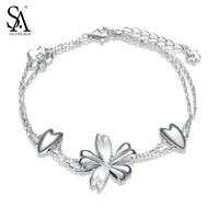 SA SILVERAGE Real 925 Sterling Silver Flowers Link Bracelet For Women Fine Jewelry Double Layer 2017