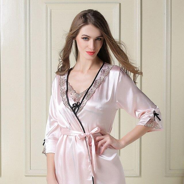 2017 весной и летом сексуальная ночная рубашка ночная рубашка из двух частей моделирования шелковые пижамы