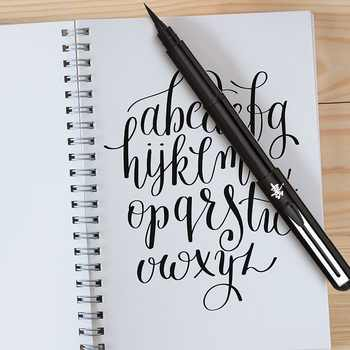 1Set Pentel Arts Pocket Soft Brush Calligraphy Pen and 2 Black Ink Refills Artist Hand Lettering Sumi Painting Technical Drawing