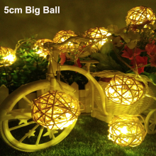 5cm Big Ball LED Christmas tree lights 5m 20leds string lamps wedding garden pendant garland Timbo lamp 110V/220V