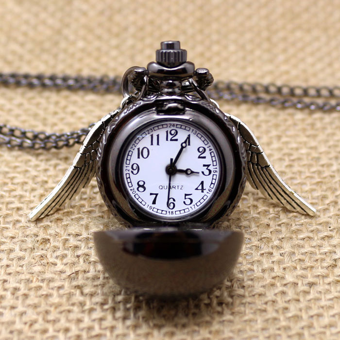 Fashion Black Snitch Pocket Watch With Necklace Chain Quidditch Gift To Kids Girls Free Shipping fire fighter theme old antique bronze pocket watch with chain necklace free shipping best gift to firemen