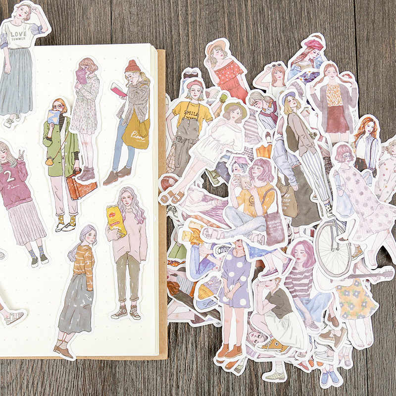 100pcs/pack lovely girls Stickers scrapbooking hand book Waterproof fashion girl sticker for Laptop children kids notebook