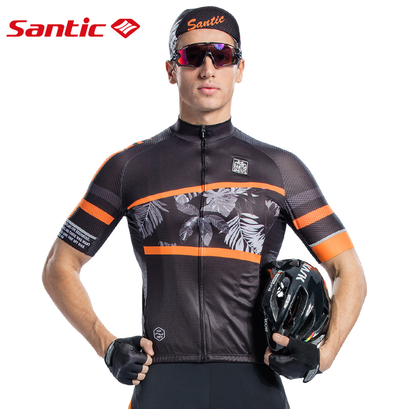 Santic Men Cycling Jersey Short Sleeve Pro Fit Antislip Sleeve Cuff  Road Bike MTB Short Sleeve Jersey Summer Asia size M8C02128-in Cycling Jerseys from Sports & Entertainment    2