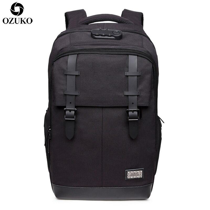 OZUKO multifonctionnel Anti-voleur sac à dos hommes USB charge 15.6 ''ordinateur portable voyage sacs à dos sac à dos scolaire décontracté pour les adolescents