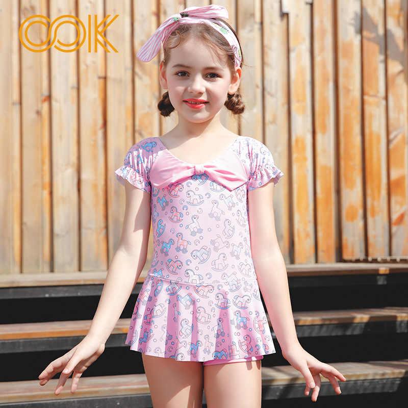 Kids Bow Bathing Suits Girl One Piece Pink Horse Bikini Children Skirt Swimwear for Girls Infant Swimsuit Child Summer Bikini| |   - AliExpress->