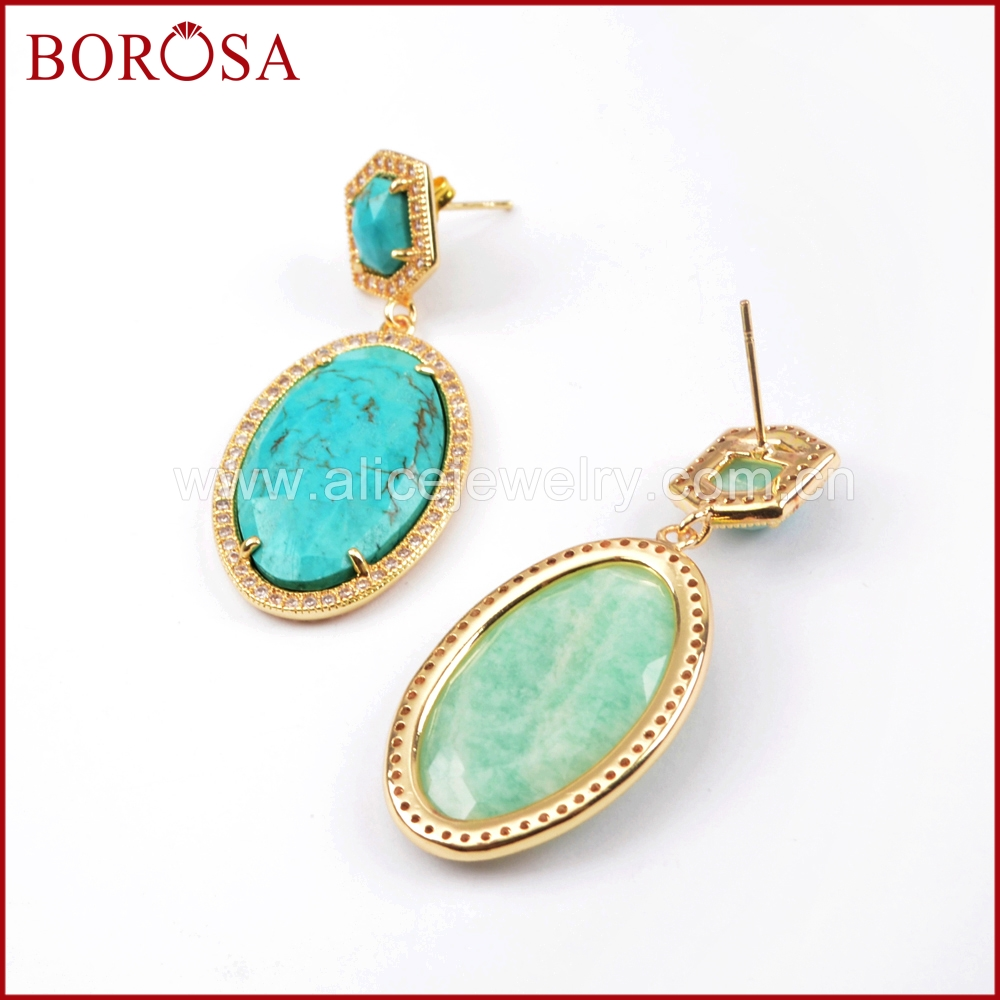 BOROSA 3/5Pairs Micro Pave CZ Multi-kind Gems Faceted Stones Gold Earring Druzy Howlite Amazon Dangle Earrings Jewerly WX1020