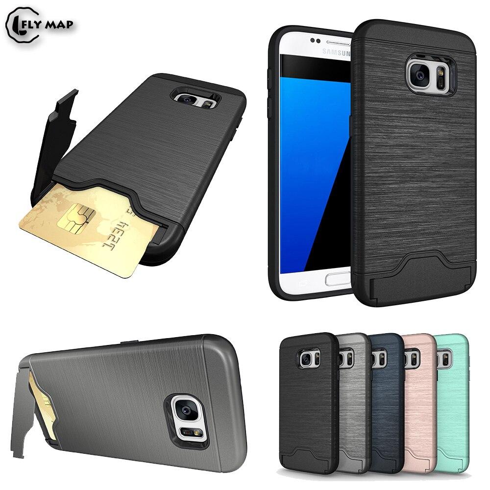 Bracket Card Slot Case Bag for Samsung Galaxy S7 S 7 7S Armor Credit Card Phone Back Cover G930FD G930F SM-G930FD G930U Coque