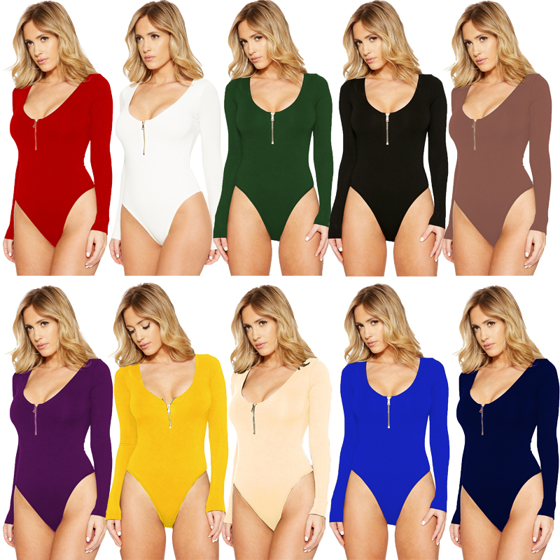 S XXXL Zip Jumpsuits Women Dance Show Bodysuits Ballet Costume Playsuits Shirt Cloth Long Sleeve Halloween T Back Thong Sports in Bodysuits from Women 39 s Clothing