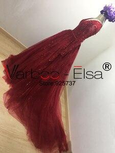 Image 5 - VARBOO_ELSA Đầm Vestido De Noiva 2020 Chiếu Trúc Hạt Cổ V Áo Váy Ren Đỏ Nhà Nguyện Đoàn Tàu Bầu Nửa Tay Trung Quốc Cô Dâu bộ Đồ Bầu