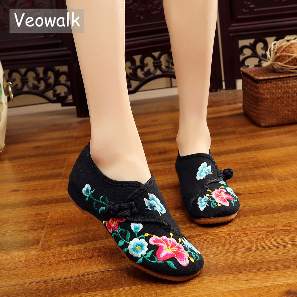 Veowalk Morning Glory Flower Embroidered Women's Canvas Ballet Flats Ladies Casual Comfort Denim Cotton Embroidery Women Shoes