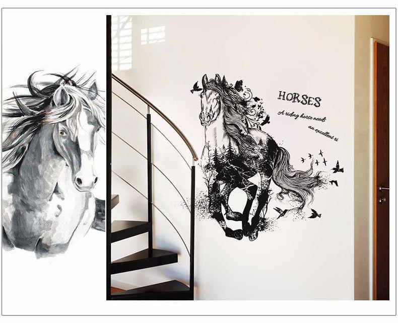ccbaa85e802 ... Black Run Of Horse Removable Cartoon animal bird Wall Stickers Living  Room bedroom Sofa Background ...