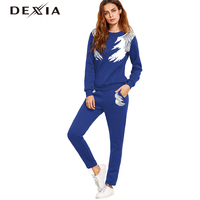 DEXIA Fashion Women Suit Winter Long Sleeve Angel Wings Printing Formal Pant Suits Women Trousers Suits
