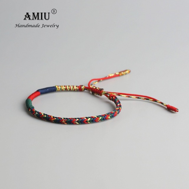 Amiu Tibetan Buddhist Lucky Charm Bracelets Bangles For Women Men Handmade Knots Green Rope