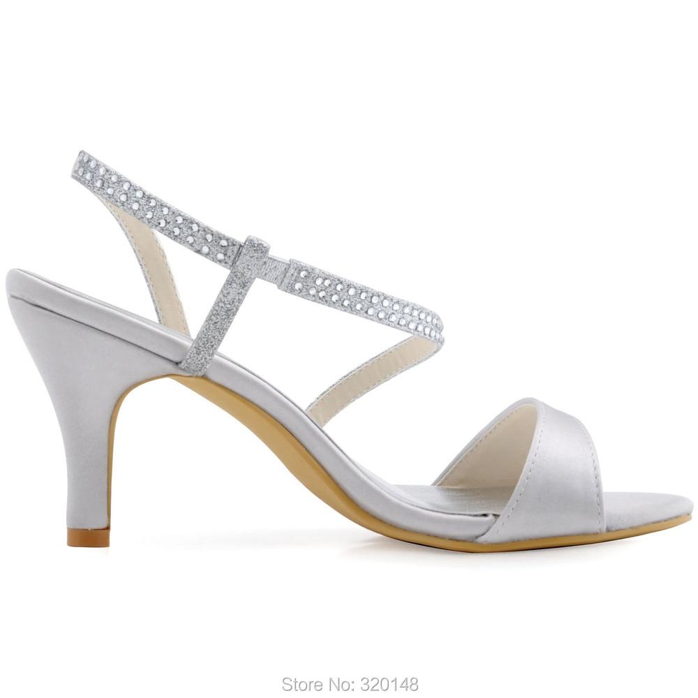 Musim Panas Wanita Sandal Tumit Tinggi Peep Toe Pergelangan Kaki Tali Pernikahan  Sepatu Pengantin Satin Crystal Prom Gaun Pesta Sepatu Putih Gading ... 3a252e9e8c