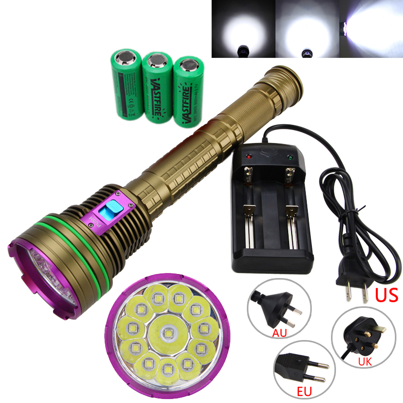 Underwater 100M 30000Lm 12XL2 LED Diving Flashlight Rechargeable 26650 Dive Torch Light Lamp +Charger waterproof ultraviolet diving light 3x uv led lamp diving flashlight scuba torch dive lanterna pcb 26650 battery eu charger