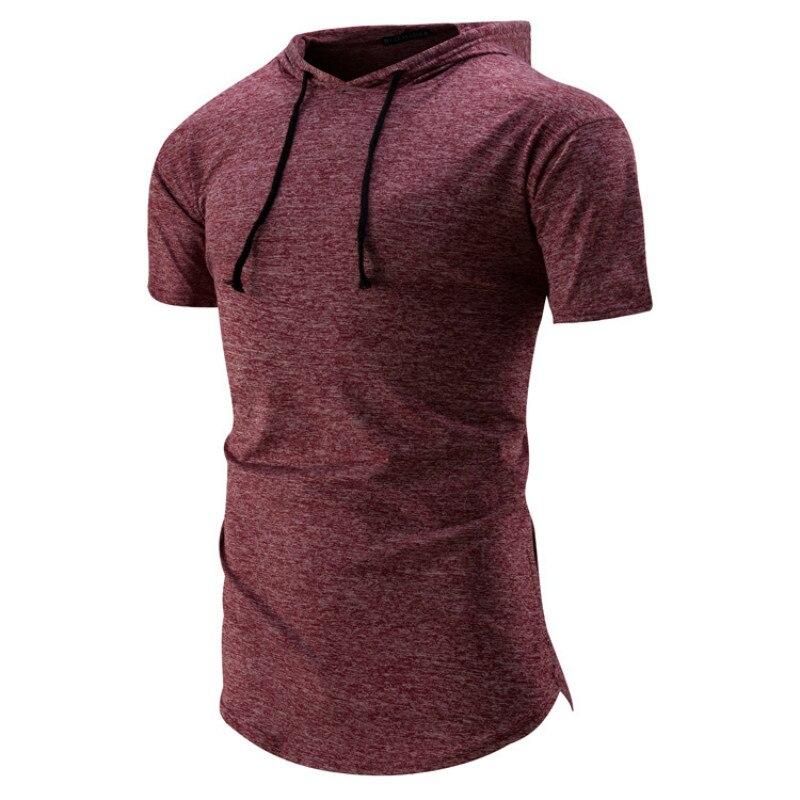 Summer New Men's Hooded Casual Fashion Tshirts Short Sleeve Tshirt Mens Clothing T Shirts Men Short Sleeve 4colour