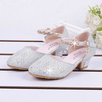 2017 kids girls sandals shoes with heels Summer/autumn baby Girl Princess party shoes fashion rhinestone Leather Shoes