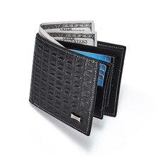 Мужской кошелек, модный короткий Мужской Двойной кошелек, кожаный офисный мужской кошелек, держатель для карт с узором «крокодиловая кожа», кошелек для зрелых мужчин