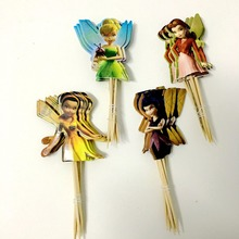 24pcs Adorable Flying Fairy Tinkerbell Cup cake Topper Pick princess tinkerbell event party supplies birthday party decorations(China)