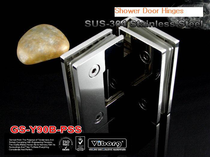 (1 pair) VIBORG SUS304 Stainless Steel Glass-to-Glass Shower Door Hinge, Frameless Shower Door Hinge, Shining,GS-Y90B-PSS 1 pair viborg sus304 stainless steel heavy duty self closing invisible spring closer door hinge invisible hinges jv4 gs58b