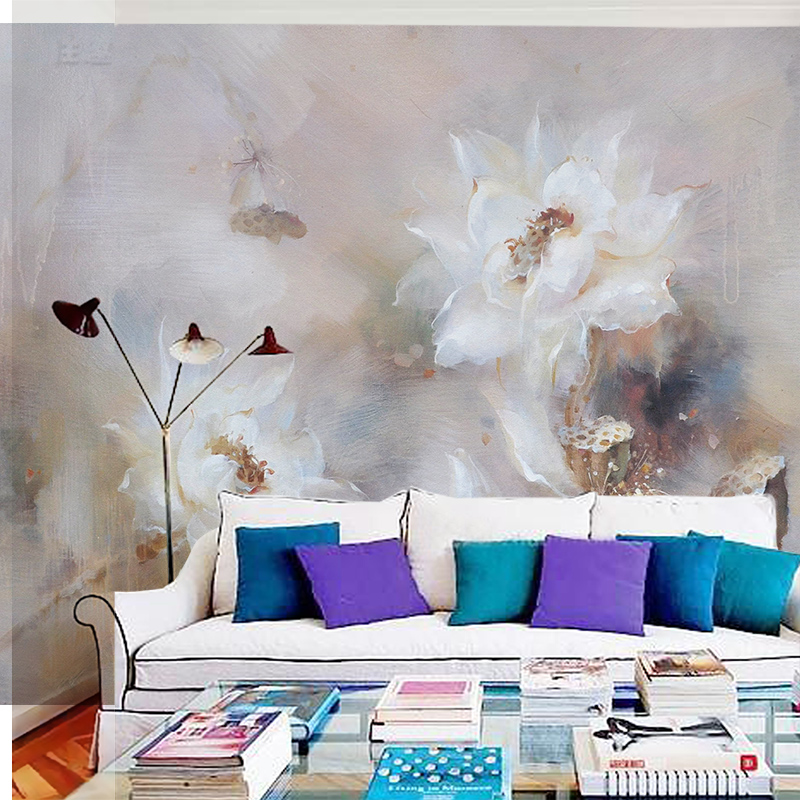 Bacaz Painting White Lotus Flower Murals 5D Papel Murals for Living Room Sofa Background Wallpaper 3d Photo Murals Wall paper 8d papel wolf animal murals 3d animal wallpaper mural for living room background 3d wall photo murals wall paper 3d stickers