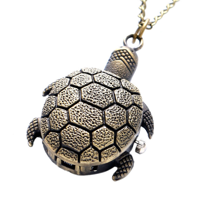 Vintage Mini Small Size Bronze Lovely Turtle Quartz Pocket Watch for Women Lady Girl Necklace Pendant Chain for Birthday Gifts