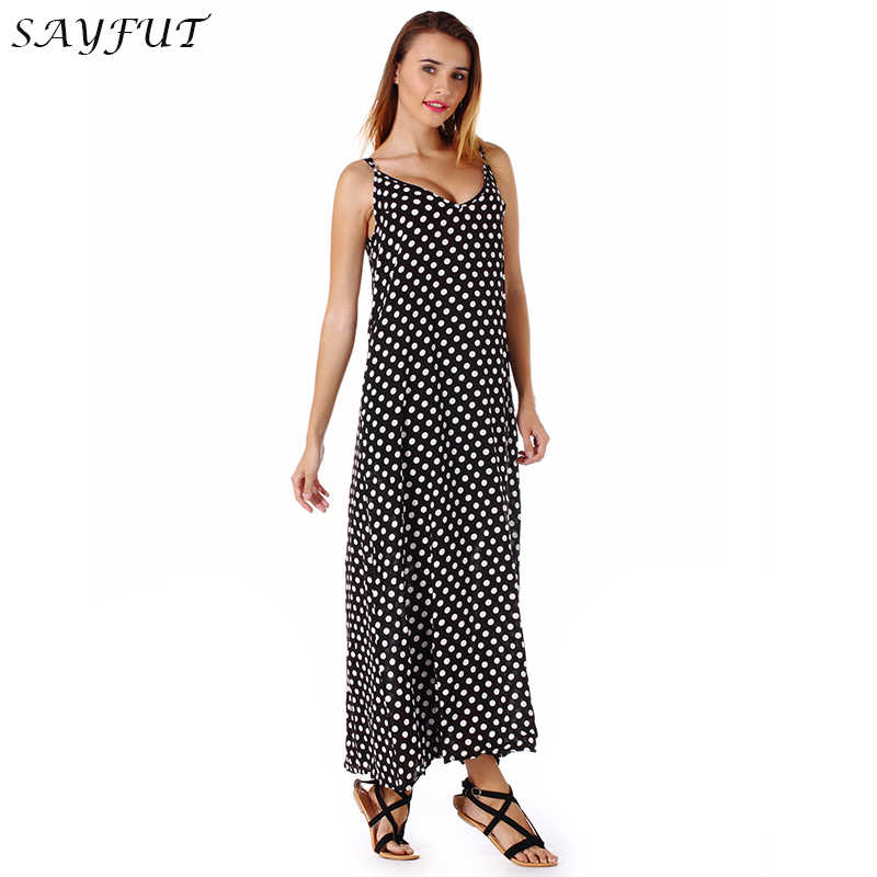 Detail Feedback Questions about New Casual Women Long Dress Loose Summer  Holiday Dress Fashion Bohemian V neck Big Swing Dot Spaghetti Strap Dresses  for ... 356fe1ef6
