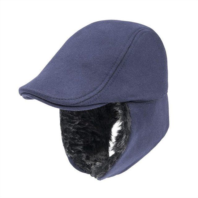 VOBOOM Ear Flap Bomber Hat Men Winter Navy Blue Cotton Warm Flat Ivy Cap Ear  Protection Faux Fur Lining Hats 015 d2b02217828