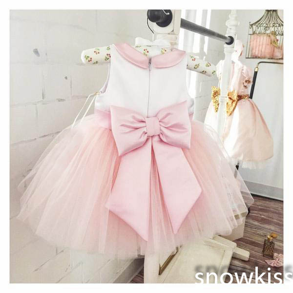 Cute pretty free shipping blush pink and white kids flower birthday clothes dress tie tulle Ball gown Baby Girl Party Dress