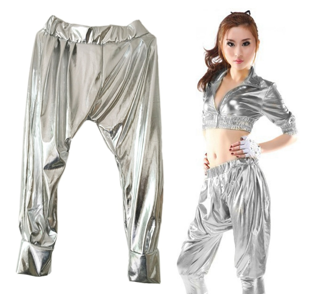 New fashion Sweatpants Paillette Costumes female wear spliced jazz Glossy Silver  loose Harem Hip Hop Dance Pants