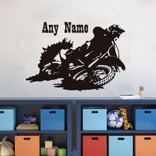 Rushing Motorcycle Customized Name Vinyl Wall Sticker Home Decor For Living Room Removable Vehicle Art Murals