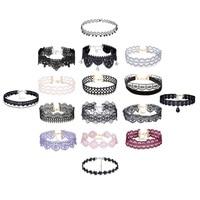 16 unids lace choker collar mujeres collar collares de múltiples opciones de moda perlas flor del cordón ahueca hacia fuera el colgante de los encantos