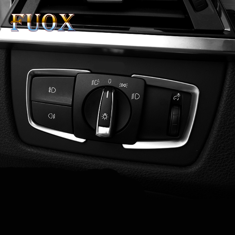 2Pcs/Set ABS Chrome Headlight Switch Frame Trim Adjustment Circle <font><b>Sticker</b></font> For <font><b>BMW</b></font> F30 <font><b>F31</b></font> F32 F34 3 4 Series 320 328 Accessories image