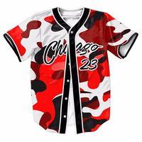 2017 Hot Baseball Jersey T Shirt 3D Print Camouflage Chicago 23 Short Sleeve Men TShirt Button