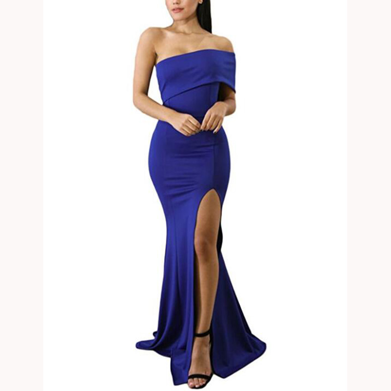 Simple Royal Blue Mermaid   Bridesmaid     Dresses   Glamorous Sexy One Shoulder Side Split Party Wear   Dress   Custom Made Prom Gowns