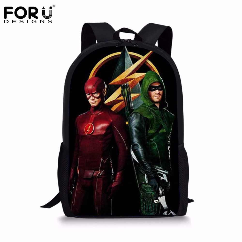 54aa2c6a12eb FORUDESIGNS/флэш-герои 3D рюкзак комиксы школьные сумки для подростков  девочек мальчиков студенческий ежедневный