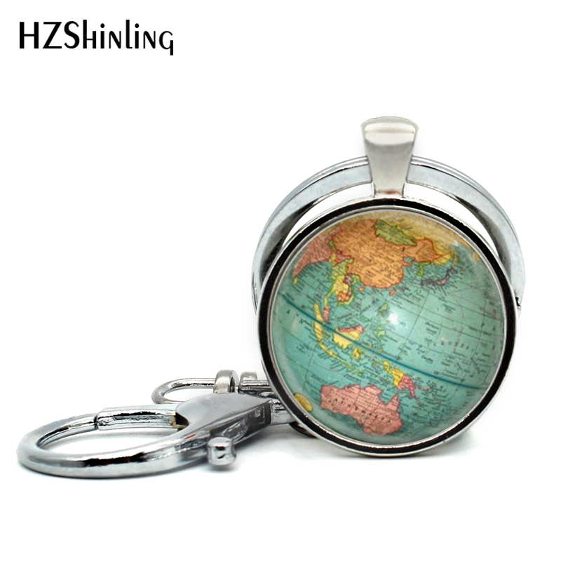 2017 Newest Globe Keychain Handmade World Map Planet Earth Geography Key Chain Glass Dome Keychains For Women