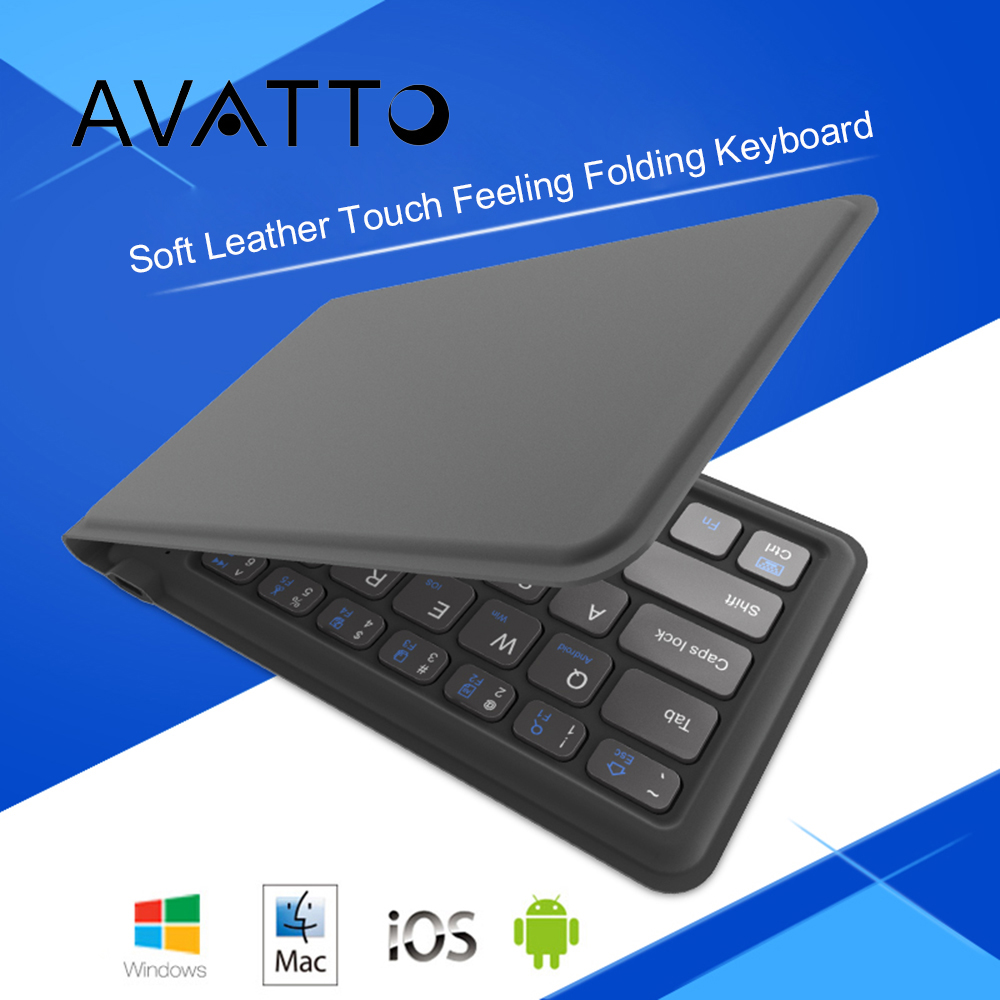 [AVATTO] Soft Leather Surface Portable Bluetooth Wireless Foldable Keyboard for Android IOS Phone Tablet Windows Mac Laptop PC foldable portable phone flat bracket