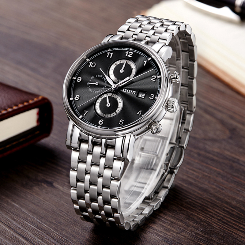 DOM Mens Watches Top Brand Luxury Hollow Automatic Mechanical Watch Sports Steel Male Clock Waterproof Watch Relogio Masculino