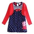 Azul rojo del bebé niños vestidos de las muchachas, roupas infantis vestir fiesta de cumpleaños para la ropa de manga larga