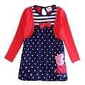 Azul vermelho do bebê crianças vestidos de meninas, roupas infantil vestidos infantis vestir de aniversário para roupas de festa de manga longa